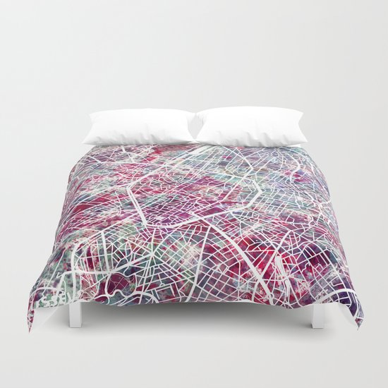 Brussels Map Duvet Cover