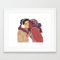 viria Framed Art Prints featuring lovebirds by viria