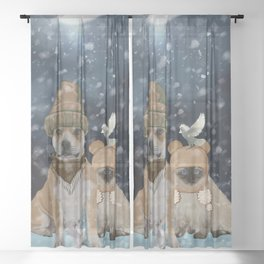 Friends, cute dog with sweet cat Sheer Curtain