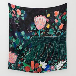 Sunday Neon Night Jungle Wall Tapestry