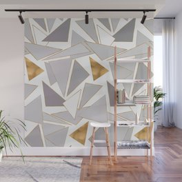 Modern Minimalist Gold Strokes Gray Triangles Wall Mural