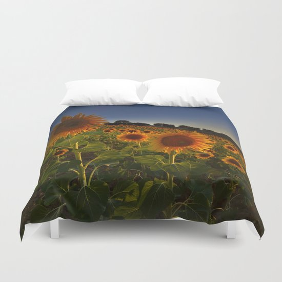 """Sunflowers following the sun"" Duvet Cover"