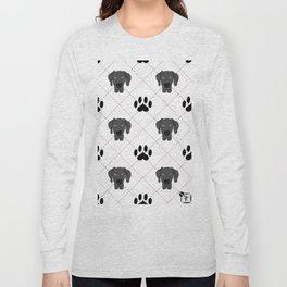 Black Great Dane Paw Print Pattern Long Sleeve T-shirt