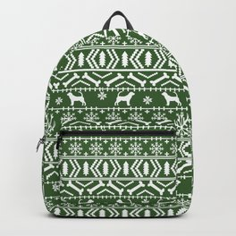 Bloodhound fair isle christmas sweater green and white minimal dog silhouette holiday gifts Backpack