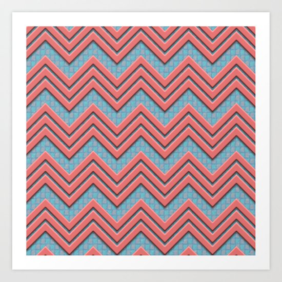 Coral Chevrons on Teal/Coral Background Art Print