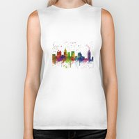atlanta Biker Tanks featuring Atlanta Skyline by Marlene Watson