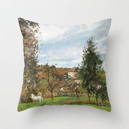"""Camille Pissarro """"Paysage avec cheval blanc dans un pré, L'Hermitage, Pontoise"""" Throw Pillow"""