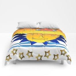 Doodle Sun-flower-man, abstract, fun design Comforters