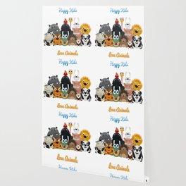 Happy kids love animals Wallpaper
