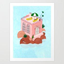 Petit Hôtel Rose Art Print