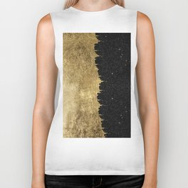 Faux Gold & Black Starry Night Brushstrokes Biker Tank
