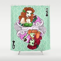gotham Shower Curtains featuring Gotham Queen of Clubs by The Art of Anastasia Catris