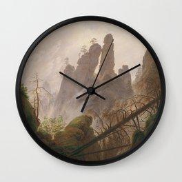 Caspar David Friedrich - Rocky Lanscape in the Elbe Sandstone Mountains Wall Clock