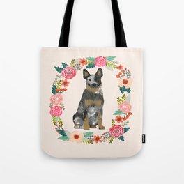 Australian Cattle Dog blue heeler floral wreath dog gifts pet portraits Tote Bag
