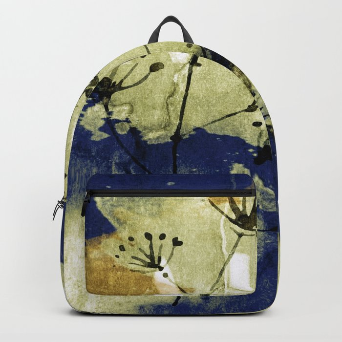 plant on blue wall Backpack