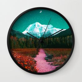 Path through the Forest and Mountains Wall Clock