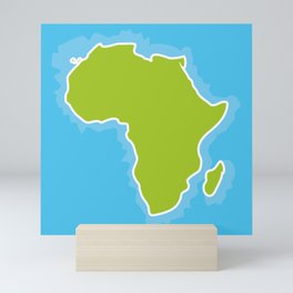 map of Africa Continent and blue Ocean. Vector illustration Mini Art Print