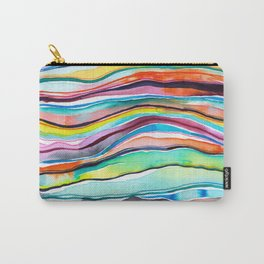 Watercolor Abstract Mineral Layers Colorful Carry-All Pouch