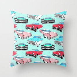 Retro Fins + Fenders in Mod Mint Throw Pillow