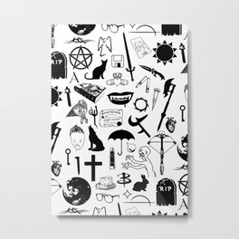 Buffy Symbology, Black Metal Print