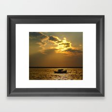 Fishing Boat Returns at Dusk Framed Art Print
