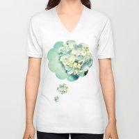 hydrangea V-neck T-shirts featuring MINT HYDRANGEA by INA FineArt