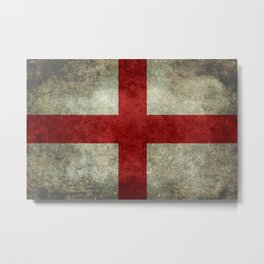 Flag of England (St. George's Cross) Vintage retro style Metal Print