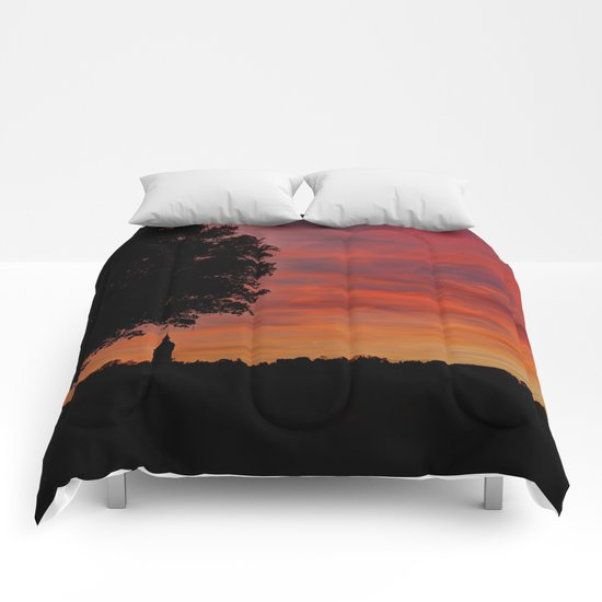 Gorgeous sunset in LOVE  Comforters