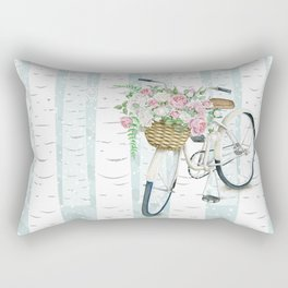 White Vintage bicycle in a Birch Forest Rectangular Pillow