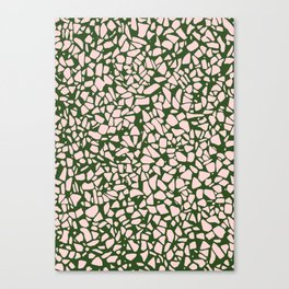 Stone Pattern - Salmon Pink & Olive Green Canvas Print