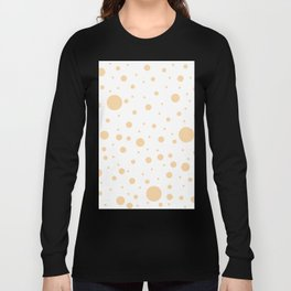 Mixed Polka Dots - Sunset Orange on White Long Sleeve T-shirt