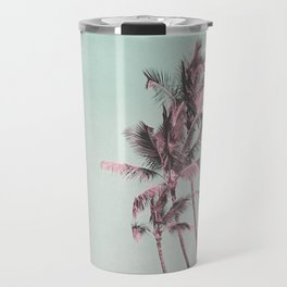 Tropical Palm Trees In Surreal Pink Travel Mug