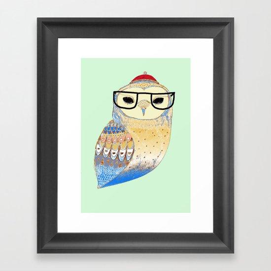 hipster owl Framed Art Print