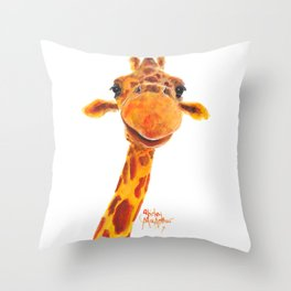 Nosey Giraffe ' MaDGe ' by Shirley MacArthur Throw Pillow
