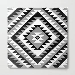 Aztec Motif Diamond Monochrome Metal Print