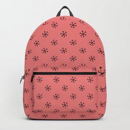 Black on Coral Pink Snowflakes Backpack