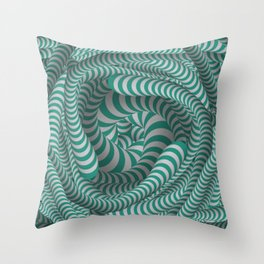 Mint green stripe illusion design Throw Pillow