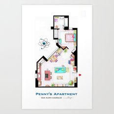 Penny's apartment floorplan from TBBT Art Print