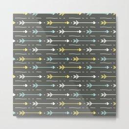 Boho aqua yellow white hand painted arrows Metal Print