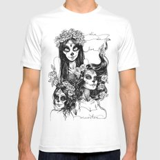 Dia de los Muertos White SMALL Mens Fitted Tee