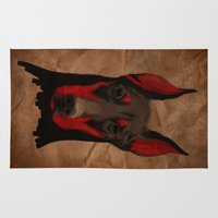 doberman Area & Throw Rugs featuring Dobermann by Det Tidkun