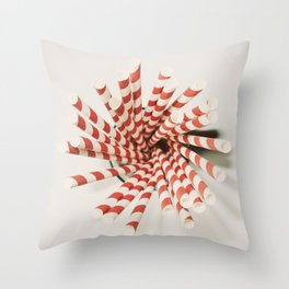 Red striped straws... Throw Pillow