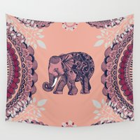 bohemian Wall Tapestries featuring Bohemian Elephant  by rskinner1122