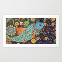 koi Art Prints featuring Koi by Joke Vermeer