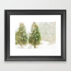 Snow Falling On Pines Framed Art Print