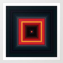 Bright Red Square Design Art Print