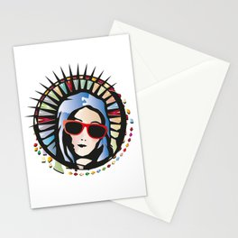 Holy Mary portrait graffiti with sunglasses Stationery Cards