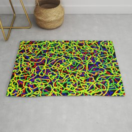 Random colored tangled ropes and yellow lines. Rug