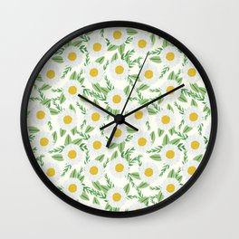 Daisies botanical floral print minimal flowers basic florals pattern charlotte winter Wall Clock
