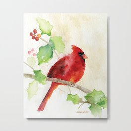 Cardinal and Holly Watercolor Metal Print